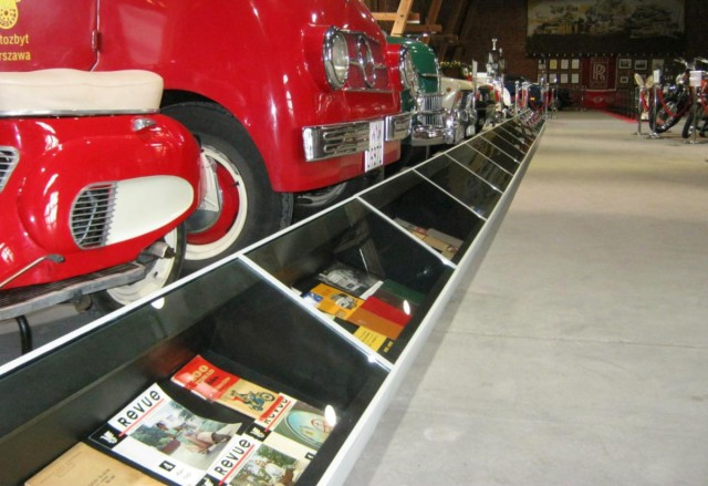 The illuminated display cabinets for Automotive Museum Topacz.