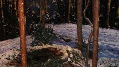 Sztuczny śnieg plastic elementem dekoracyjnym na wystawie czasowej, 150. rocznica Powstania Styczniowego.